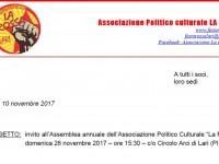 ASSEMBLEA ANNUALE ASS.NE LA ROSSA – DOM 26.11.2017