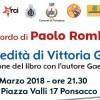 """SERATA DI RACCOLTA FONDI PER """"PEACE&OLIVES"""", IN RICORDO DI PAOLO ROMBOLI: PRESENTAZIONE LIBRO SU VITTORIA GIUNTI"""