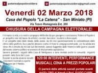 POTERE AL POPOLO VALDERA: SERATA DI CHIUSURA CAMPAGNA ELETTORALE