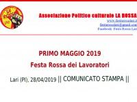 PRIMO MAGGIO 2019: COMUNICATO STAMPA, FESTA DEI LAVORATORI DI LARI